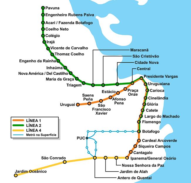 Carte des lignes de métro de Rio de Janeiro