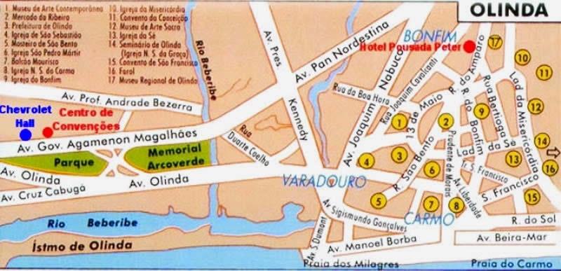 Carte touristique Olinda Brésil