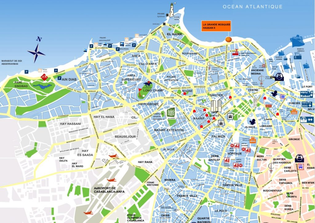 Carte touristique de Casablanca