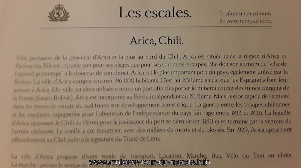 Escale à Arica au Chili