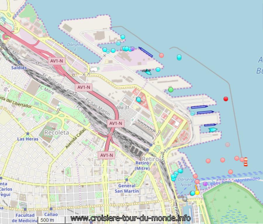 Position du Queen Victoria en Escale à Buenos AIres en Argentine