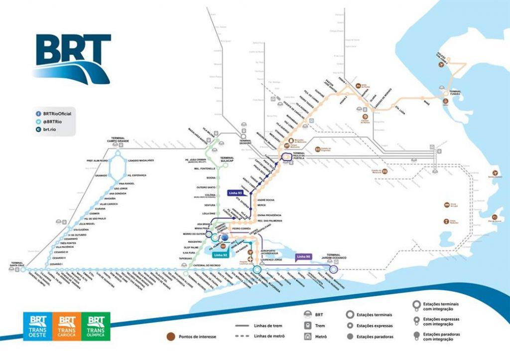 Plan des lignes de Bus BRT à Rio de Janeiro