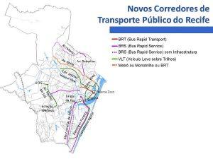 Carte des transport publiques de Recife au Brésil