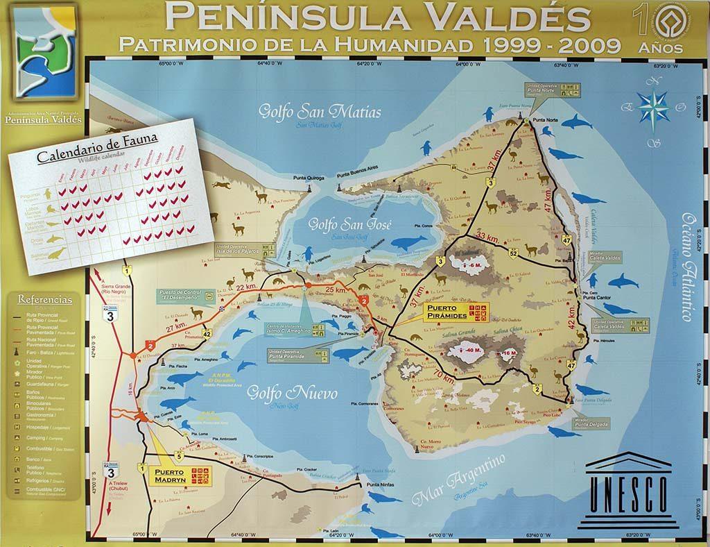 Carte de la péninsule de Valdès et de la région de Puerto Madryn