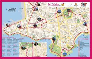 Plan de la tournée du bus touristique hop on hop off de Montevideo