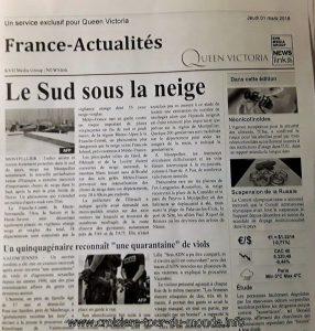 Des nouvelles fraîches reçu de France