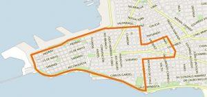 Zone délimitée pour le ticket voyage central des bus à Montevideo