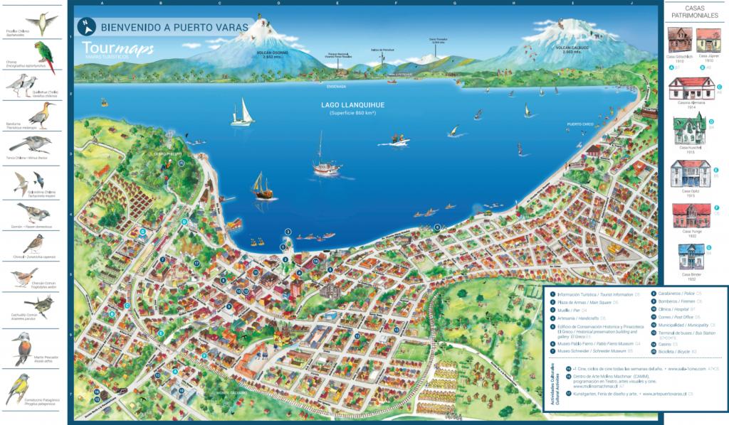 Carte touristique de Puerto Varas au Chili