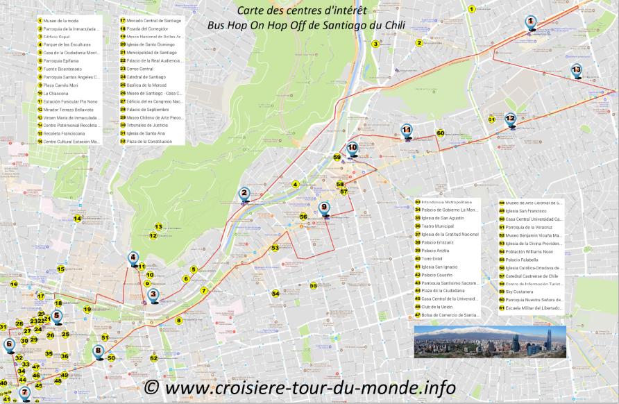 Carte des centres intérêts Santiago du Chili Miniature