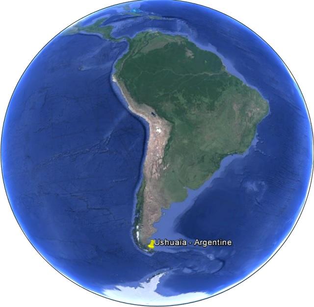 La position géographique d'Ushuaïa dans le monde