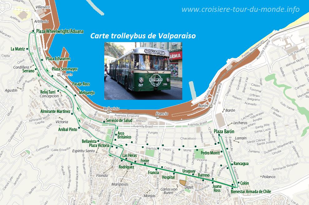 Carte Trolleybus de Valparaiso au Chili