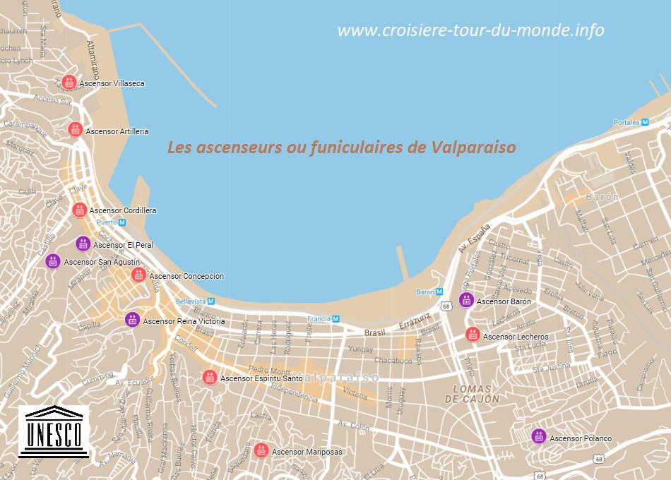 Carte des ascenseurs funiculaires de Valparaiso