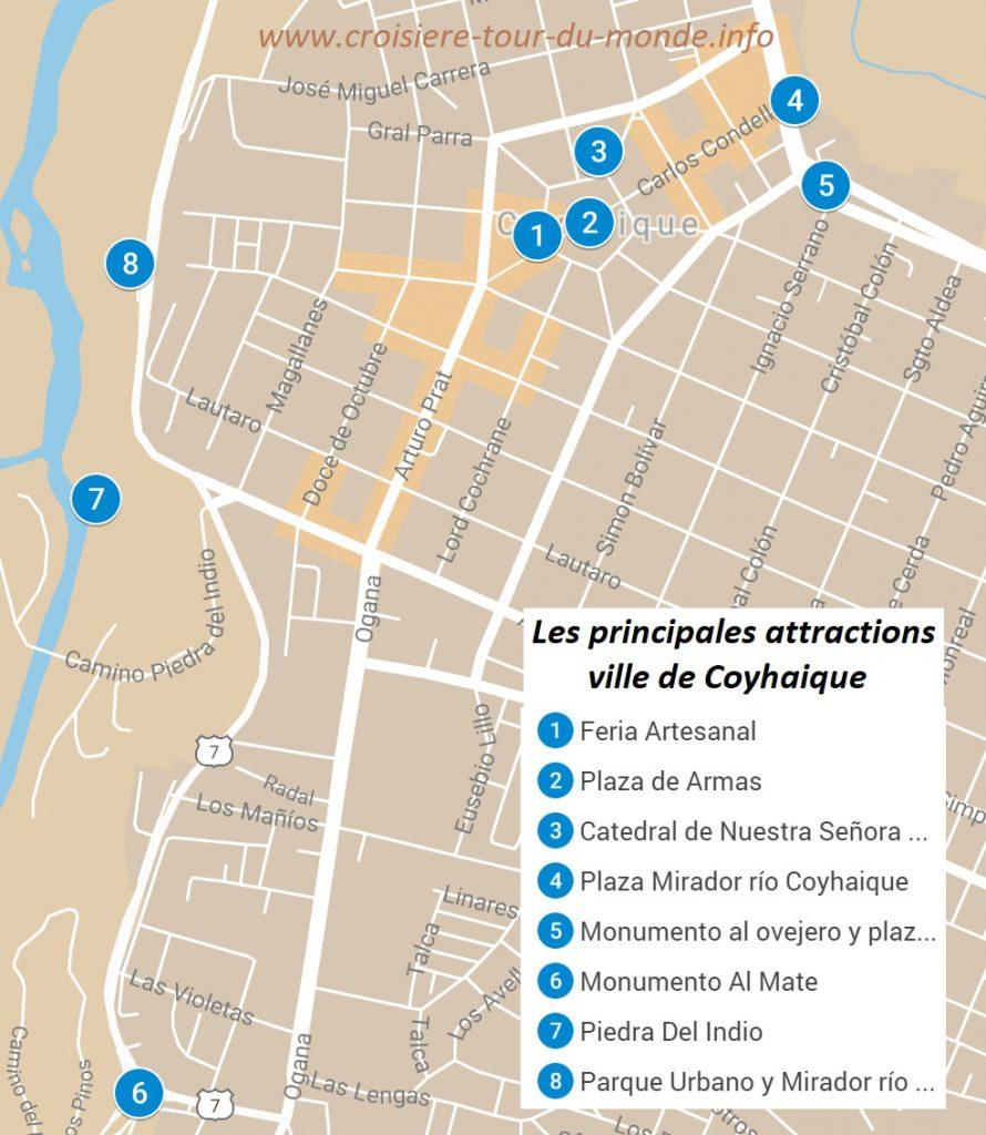 Carte des principales attractions de la ville deCoyhaique