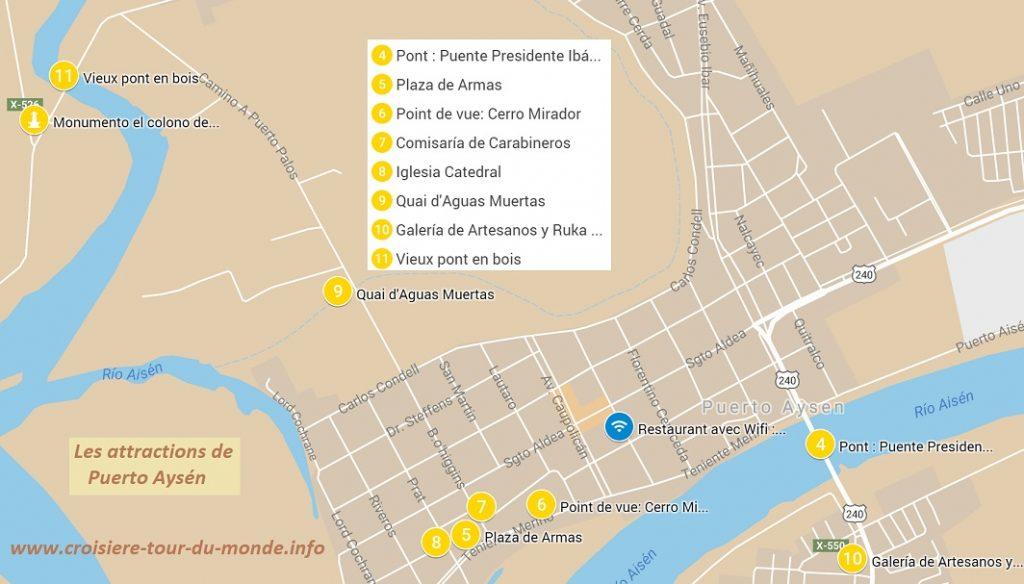 Carte des principales attractions de la ville dePuerto Aysén