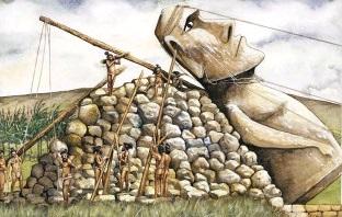 les sculpteurs redressaient les Moaïs