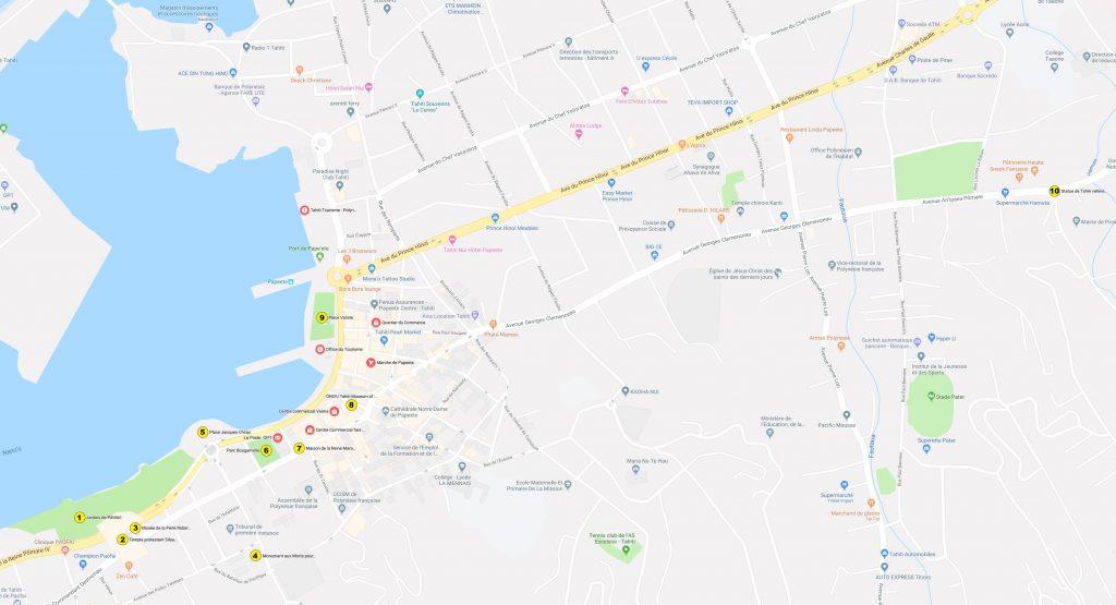 Carte Ville de Papeete