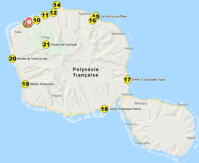 Carte des autres centres d'intérêts de Tahiti