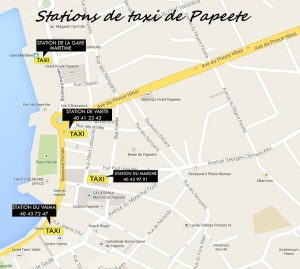 Emplacement Stations de Taxi de Papeete à Tahiti