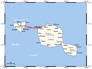Le parcours du ferry entre Papeete et Moorea