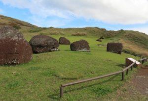 Puna Pau la carrière de pukao sur de Île de Pâques