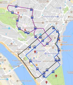 Carte des boucles gratuites de bus Brisbane en Australie