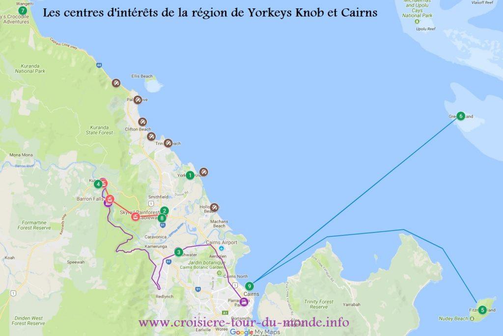 Carte des centres intérêts depuis Yorkeys Knob et Cairns en Australie