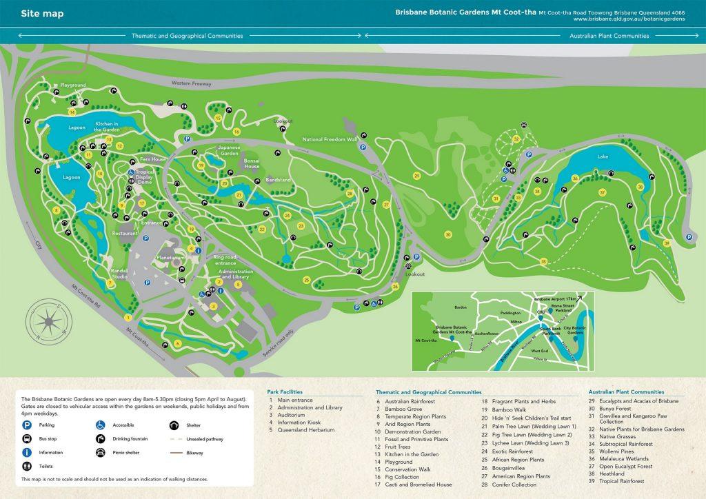 Carte des jardins botaniques exotiques de Mt Coot-tha à Brisbane en Australie