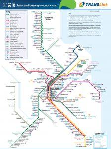 Carte des lignes de bus et de trains desservant Brisbane en Australie