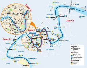 Carte des transports fluviaux de Brisbane en Australie