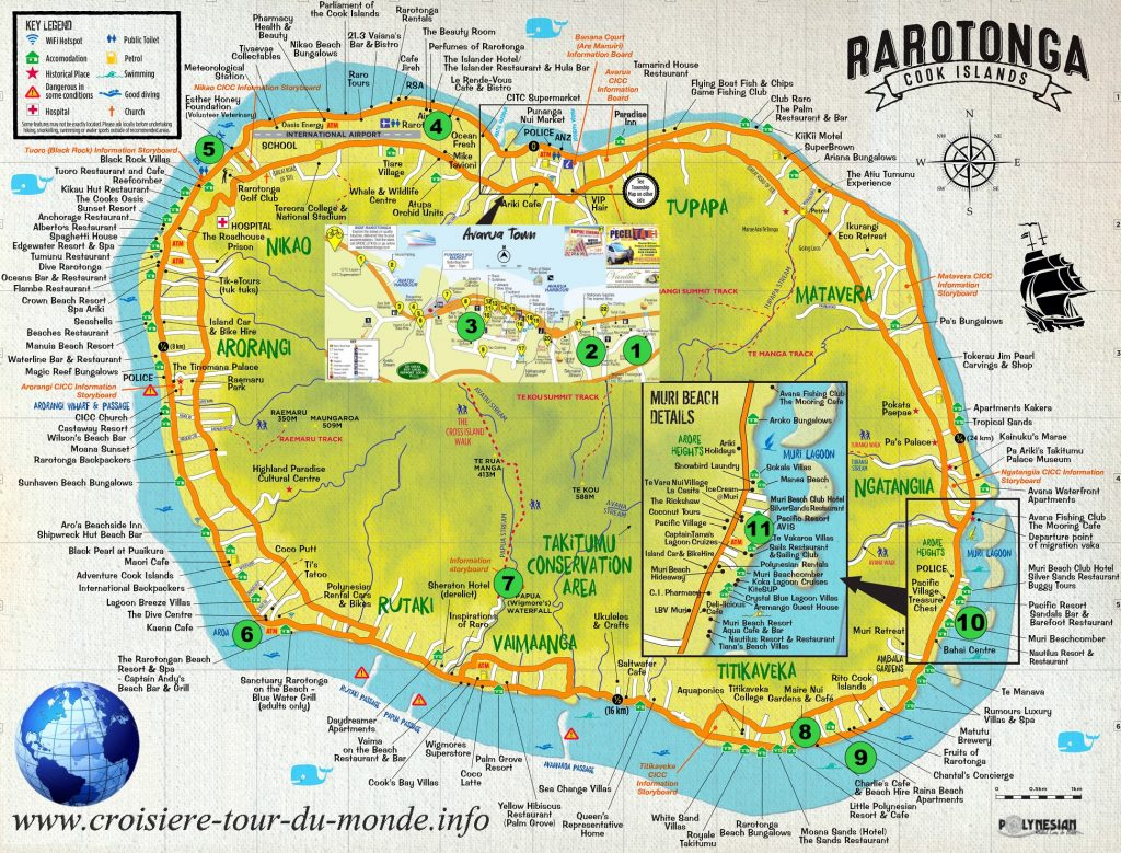 Carte touristique de Rarotonga aux îles Cook