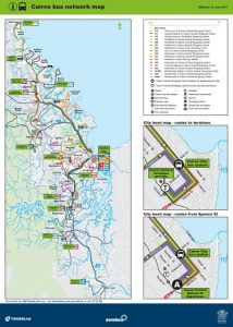 Carte des bus desservant Cairns et Yorkeys Knob