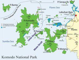 Carte du Parc National de Komodo en Indonésie