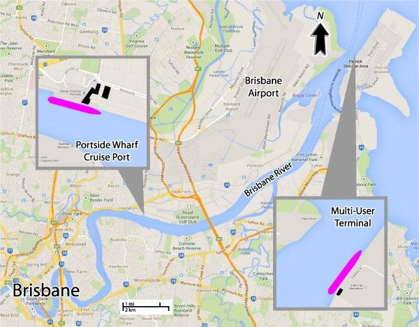 Positions possibles des bateaux de croisière à Brisbane en Australie