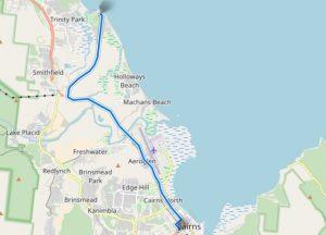 Route entre Yorkeys Knob et Cairns en Australie
