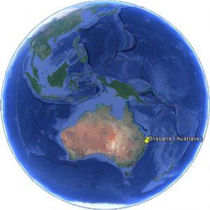 Situation géographique de Brisbane dans le monde