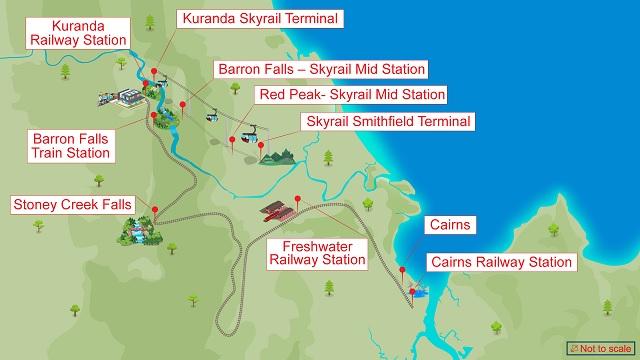 Train touristique Railway et Skyrail à Yorkeys Knob et Cairns en Australie