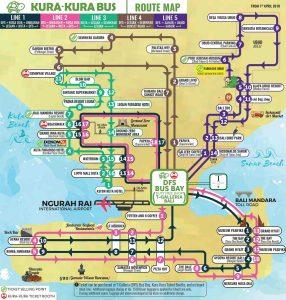 Croisière tour du monde carte du bus Hop on Hop Off Kura Kura Bus de Bali