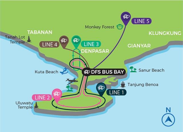 Croisière tour du monde carte simplifiée du bus Hop on Hop Off Kura Kura Bus de Bali