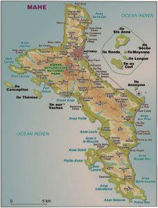 Croisière tour du monde Carte de l'Île de Mahé aux Seychelles