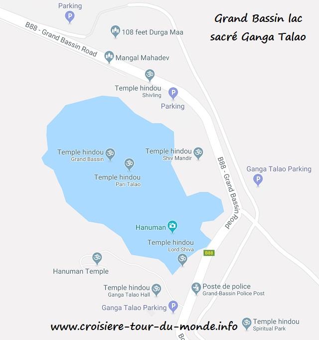 Croisière tour du monde Carte Grand Bassin lac sacré Ganga Talaoi - Ile Maurice