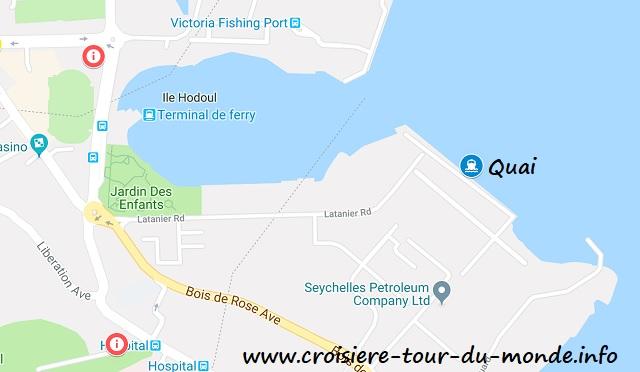 Croisière tour du monde Carte de Port Victoria Mahé aux Seychelles