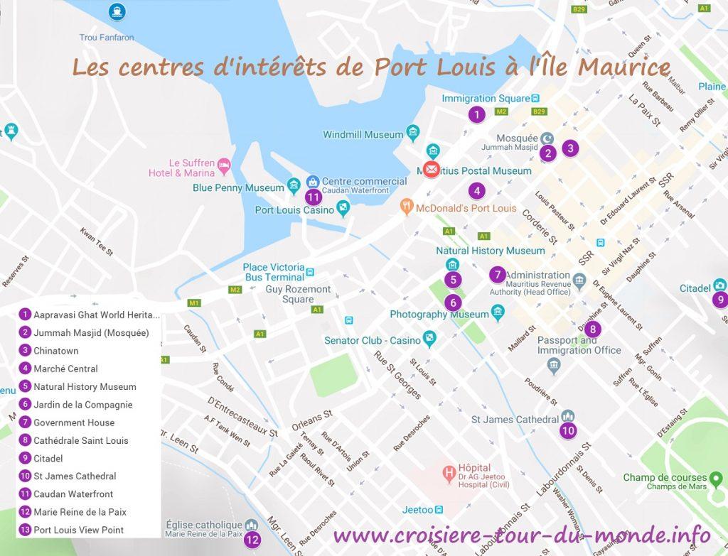 Croisière tour du monde Carte des centres d intérêts de Port Louis à Ile Maurice