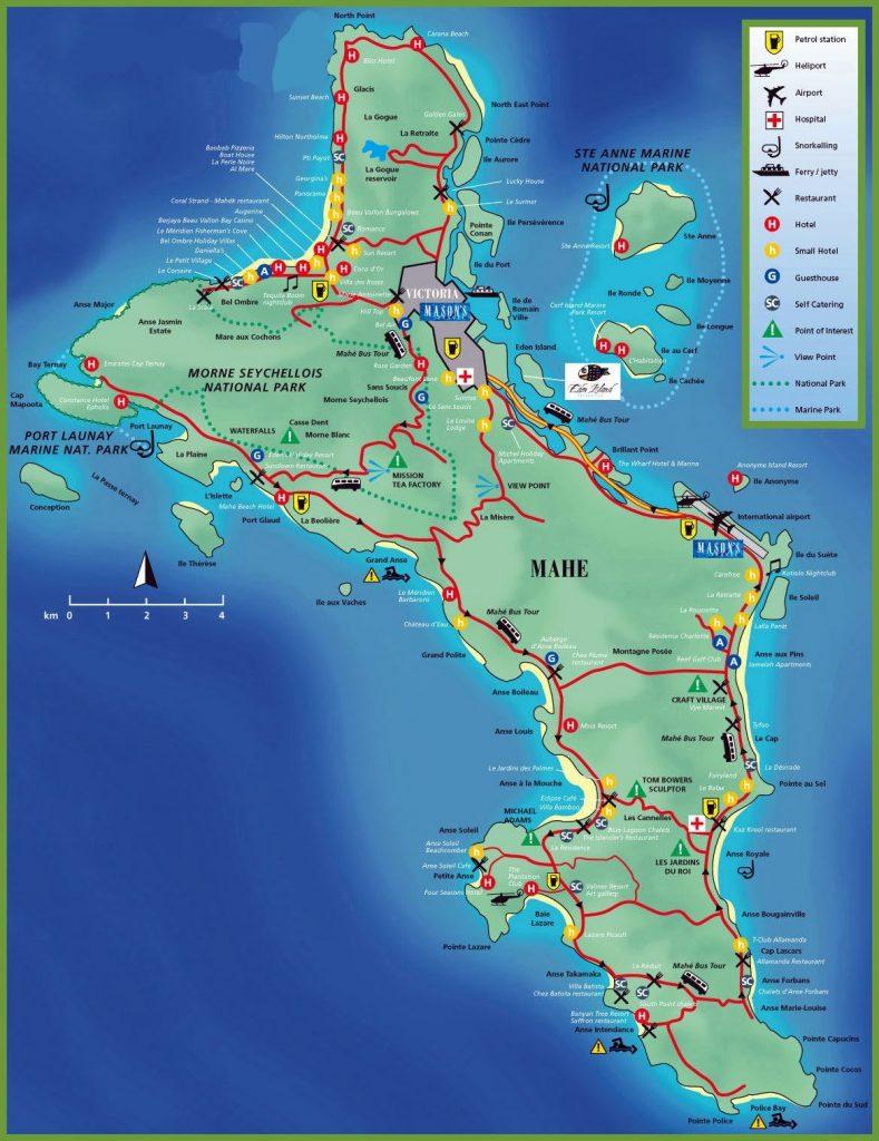 Croisière tour du monde Carte touristique de Mahé aux Seychelles