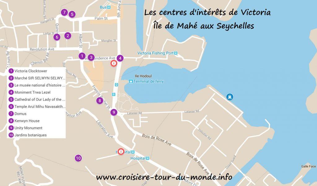 Croisière tour du monde Carte touristique de Victoria Mahé aux Seychelles