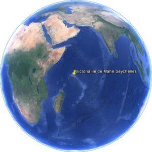 Croisière tour du monde Position de Victoria sur Île de Mahé aux Seychelles