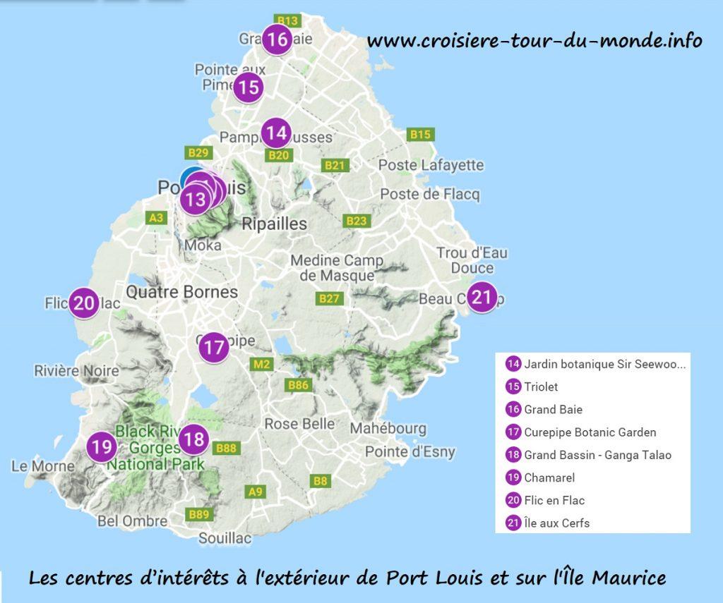 Croisière tour du monde Carte des centres d'intérêts à l'extérieur de Port Louis et sur l'Île Maurice