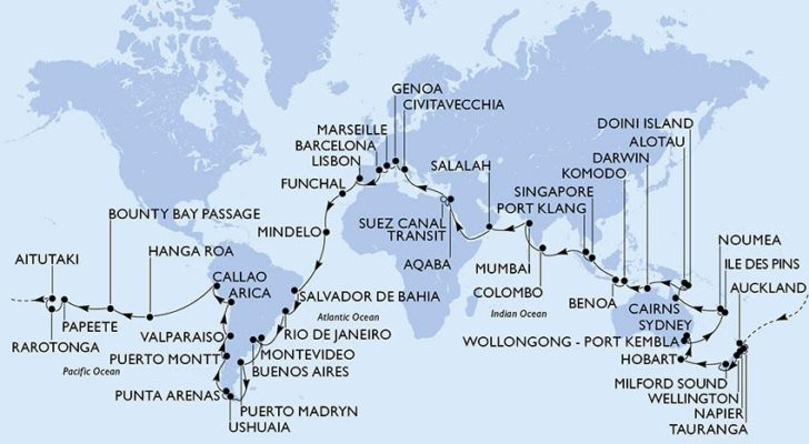 Tour du monde MSC Magnifica 2020