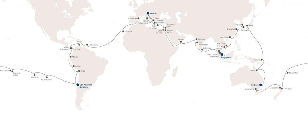 Carte croisière tour du monde Costa Croisière Deliziosa 2020